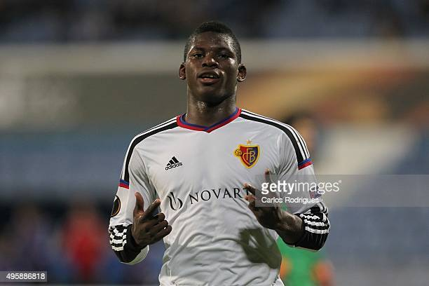 Basel's forward BreelDonald Embolo celebrates scoring FC Basel«s during the match between Belenenses v Altach for the UEFA Europa League Play Off...