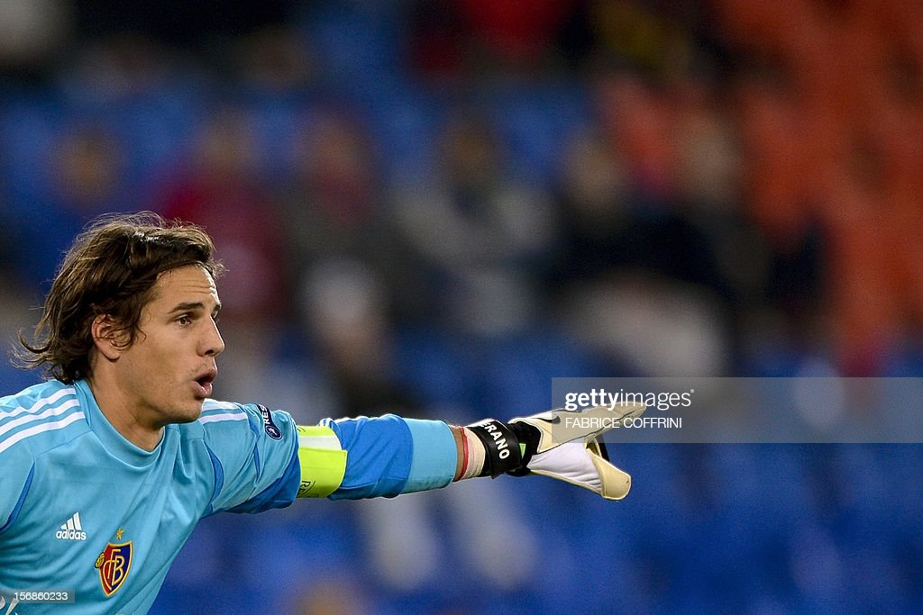 FC Basel's goalkeeper Yann Sommer gestures during his Europa League UEFA Group G football match between FC Basel and Sporting Clube de Portugal on November 22, 2012, in Basel.