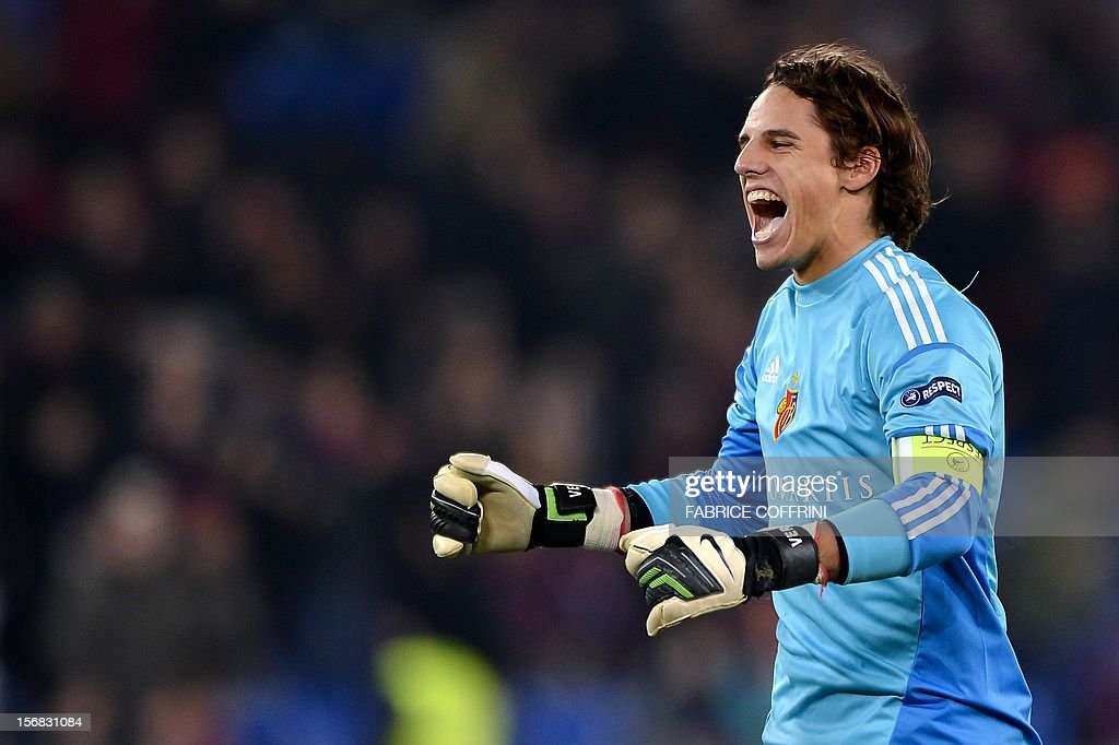 FC Basel's goalkeeper Yann Sommer reacts at the end of his Europa League UEFA Europa League Group G football match between FC Basel and Sporting Clube de Portugal on November 22, 2012 in Basel. Basel won 3-0.