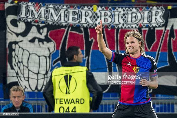 Basel's Icelandic midfielder Birkir Bjarnason celebrates after scoring a goal during the UEFA Europa League football match between FC Basel and KKS...