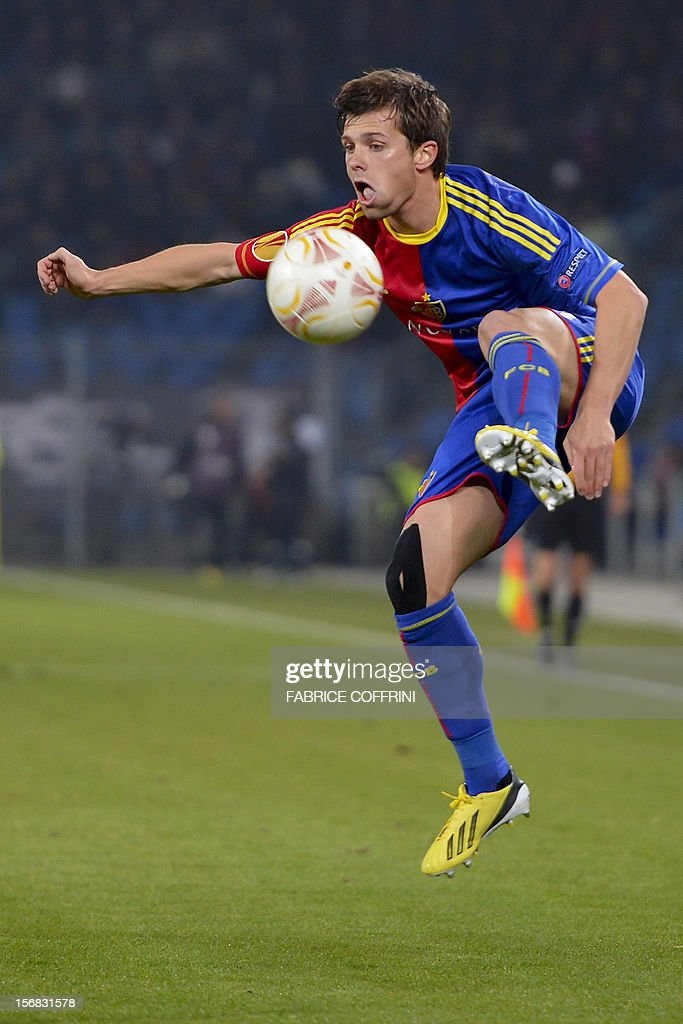 FC Basel's midfielder Valentin Stocker controls the ball during the Europa League UEFA Group G football match between FC Basel and Sporting Clube de Portugal on November 22, 2012, in Basel.