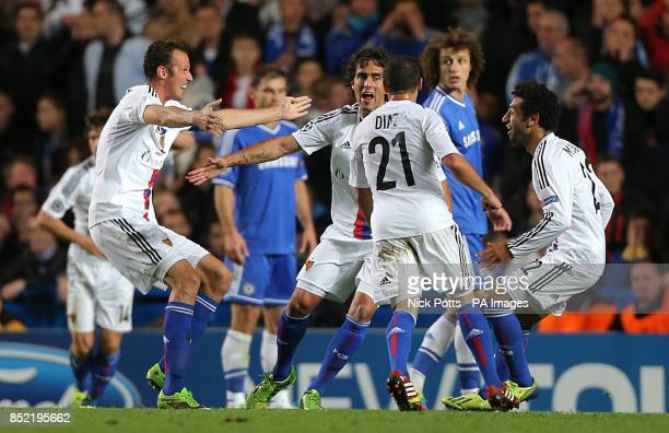 FC Basel's Mohamed Salah celebrates with his teammates after scoring his side's first goal