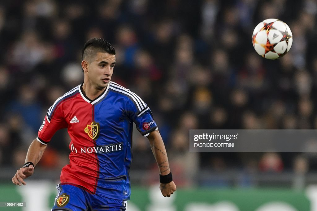 Basel's Paraguayan midfielder Derlis Gonzalez controls the ball during the UEFA Champions League Group B football match between FC Basel and Real...