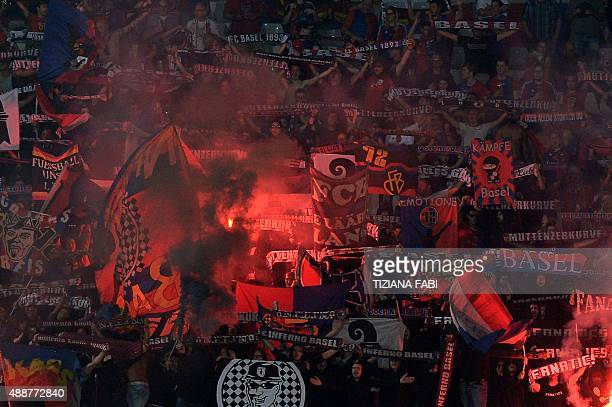 Basel's supporters react during UEFA Europa League football match between Fiorentina and FC Basel on September 17 2015 at the Artemio Franchi Stadium...