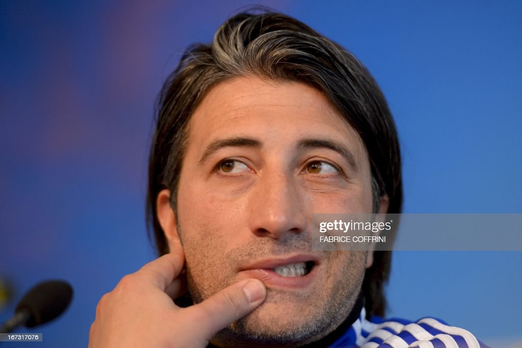 FC Basel's Swiss coach Murat Yakin looks on during a press conference in Basel on April 24, 2013, on the eve of the team's Europa League semi-final football match against Chelsea.