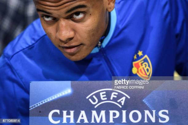 Basel's Swiss defender Manuel Akanji arrives to a press conference on the eve of the UEFA Champions League Group A football match between FC Basel...