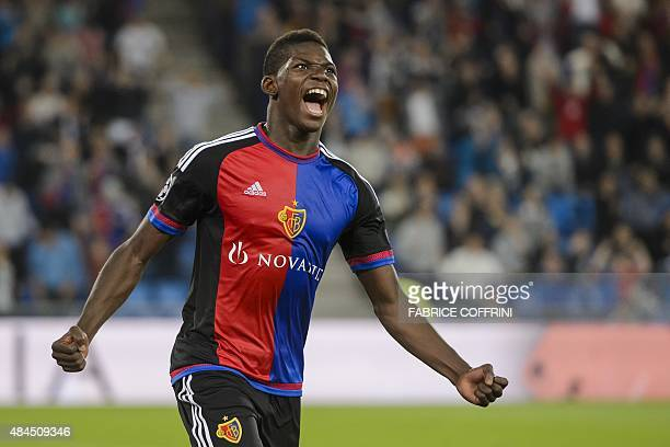 Basel's Swiss forward Breel Embolo celebrates after scoring the team's second goal during the UEFA Champions League playoff football match between FC...