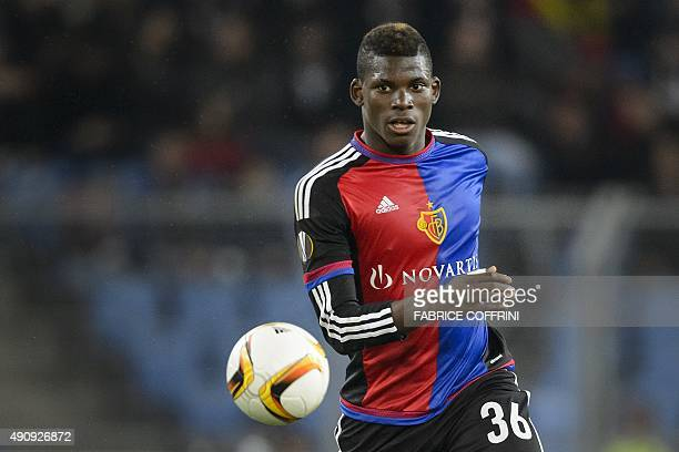 Basel's Swiss forward Breel Embolo controls the ball during the UEFA Europa League football match between FC Basel and KKS Lech Poznan at St Jakob...