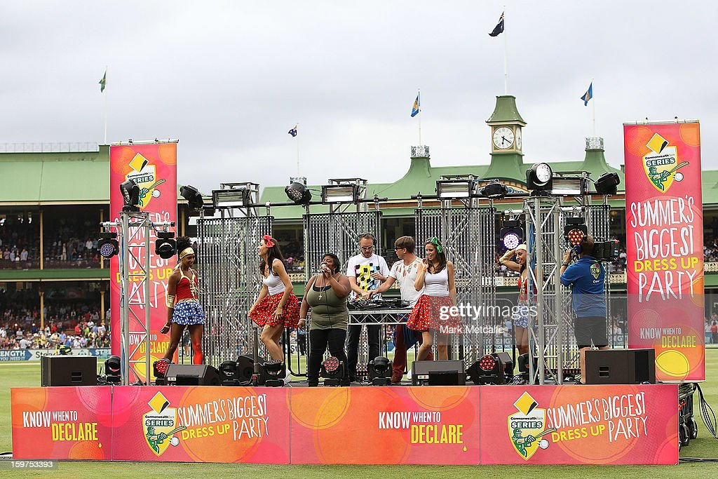 Basement Jaxx perform on stage during game four of the Commonwealth Bank one day international series between Australia and Sri Lanka at Sydney Cricket Ground on January 20, 2013 in Sydney, Australia.