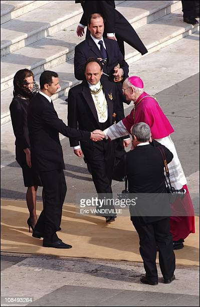 Bashar alAssad and his wife Asma at the Funeral of Pope John Paul II at Saint Peter's Basilica in Rome Italy on April 8 2005