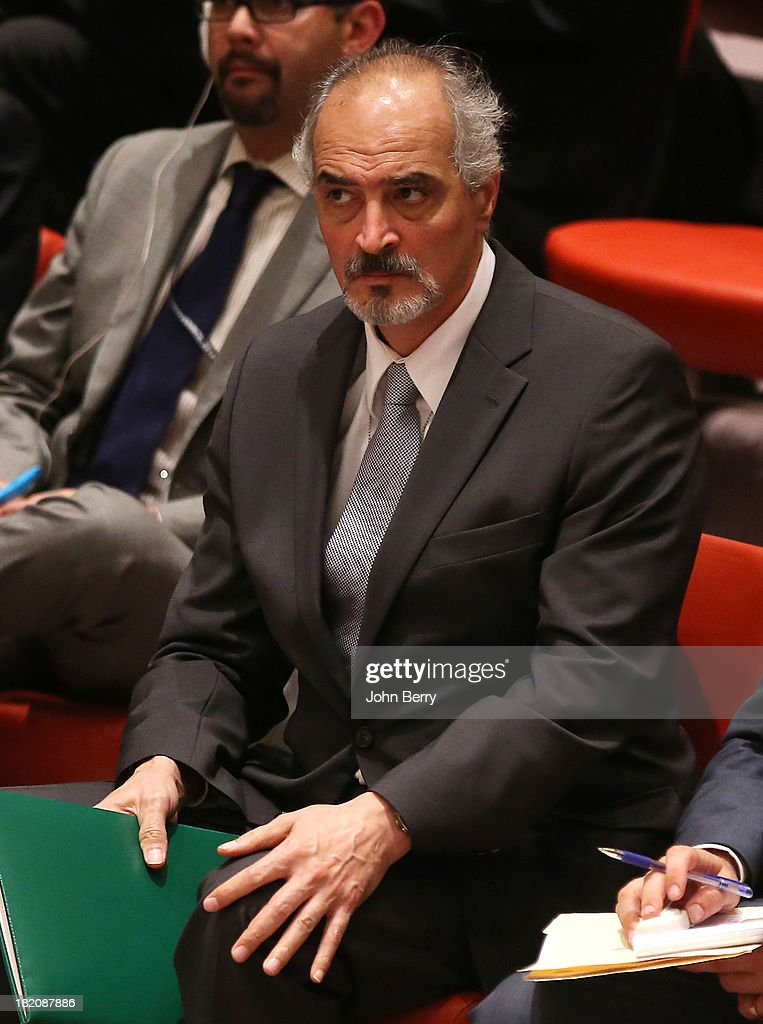 Bashar Jaafari, ambassador to the U.N. of Syria, present in the room is upset by the vote on a resolution regarding Syria's chemical weapons program at a Security Council's meeting aside the 68th United Nations General Assembly on September 27, 2013 in New York City.