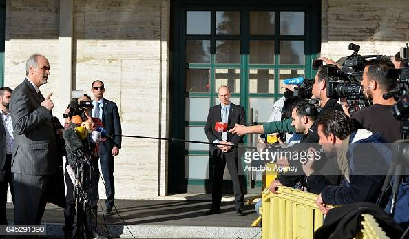 Bashar Jaafari Permanent Representative of the Syrian Arab Republic to the United Nations Headquarters speaks to media as he arrives to meet with UN...