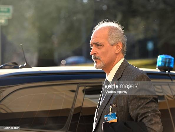 Bashar Jaafari Permanent Representative of the Syrian Arab Republic to the United Nations Headquarters arrives to meet with UN SecretaryGeneral's...