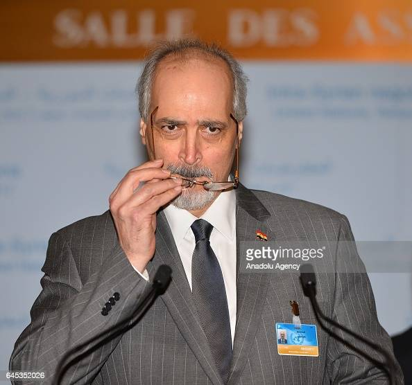Bashar Jaafari Permanent Representative of the Syrian Arab Republic to the United Nations Headquarters hold a press conference after meeting with UN...