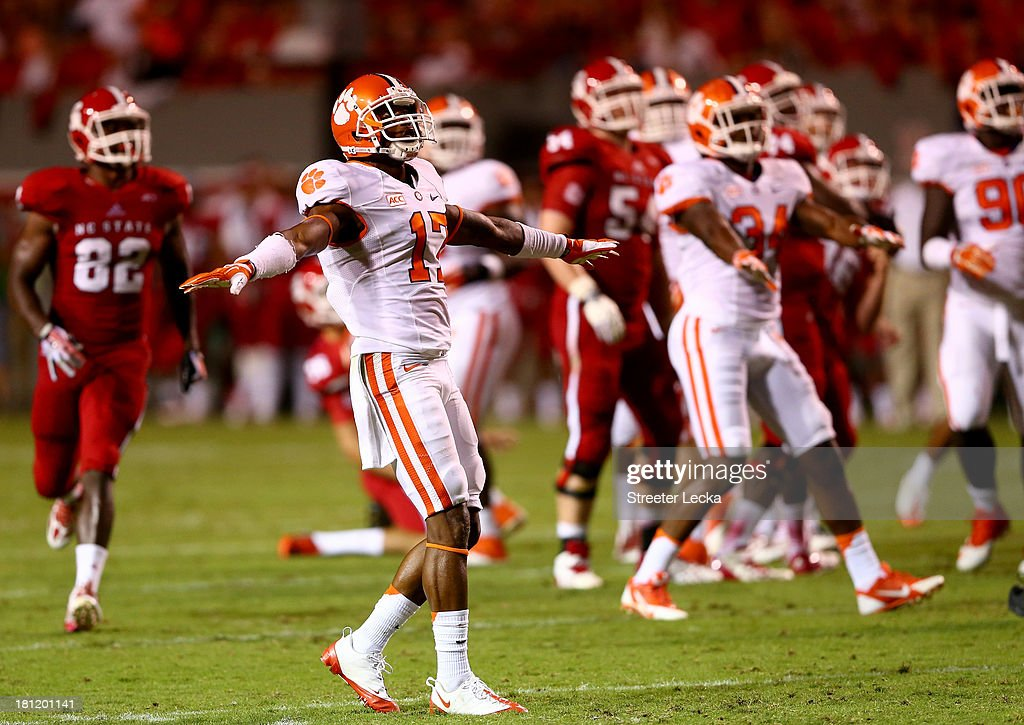 Bashaud Breeland #17 of the Clemson Tigers celebrates after a missed field goal by the North Carolina State Wolfpack during their game at Carter-Finley Stadium on September 19, 2013 in Raleigh, North Carolina.