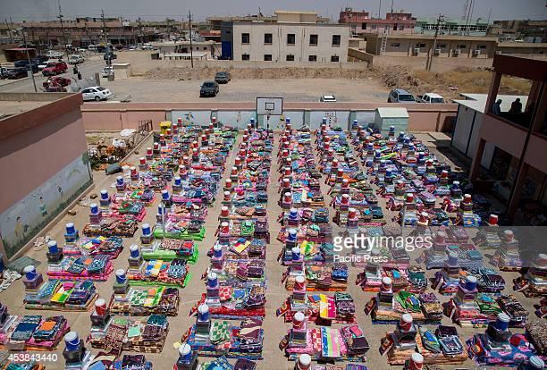 Basic household goods are displayed at the humanitarian aid center Qaraqosh Iraq