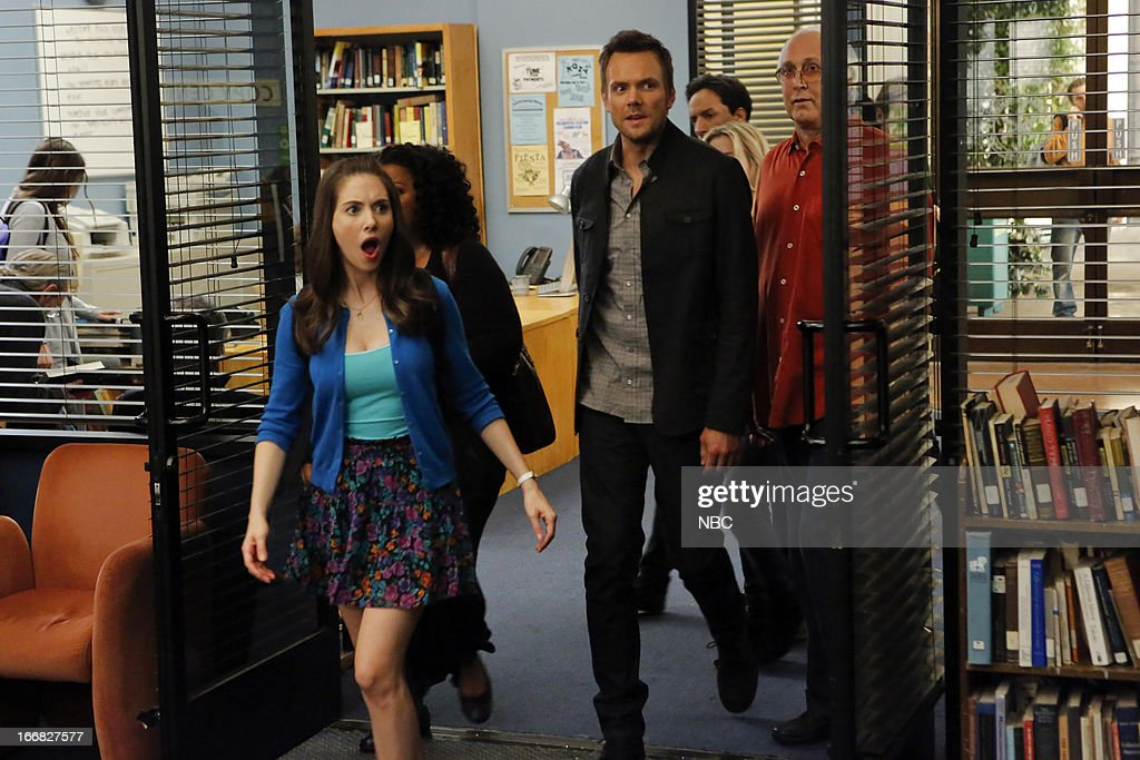 COMMUNITY -- 'Basic Human Anatomy' Episode 410 -- Pictured: (l-r) <a gi-track='captionPersonalityLinkClicked' href=/galleries/search?phrase=Alison+Brie&family=editorial&specificpeople=5447578 ng-click='$event.stopPropagation()'>Alison Brie</a> as Annie, <a gi-track='captionPersonalityLinkClicked' href=/galleries/search?phrase=Joel+McHale&family=editorial&specificpeople=754384 ng-click='$event.stopPropagation()'>Joel McHale</a> as Jeff Winger, Chevy Chase as Pierce --