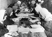 A basic literacy class given at the club of the krasny bogatyr works in moscow 1932