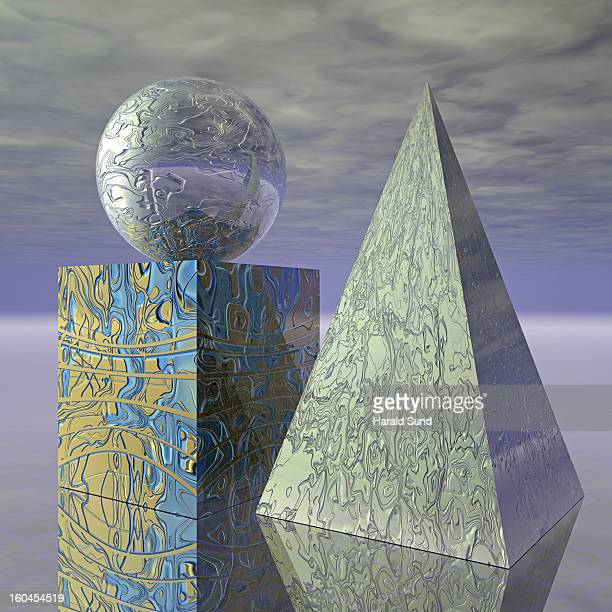 Basic shapes, cube, sphere, pyramid still life