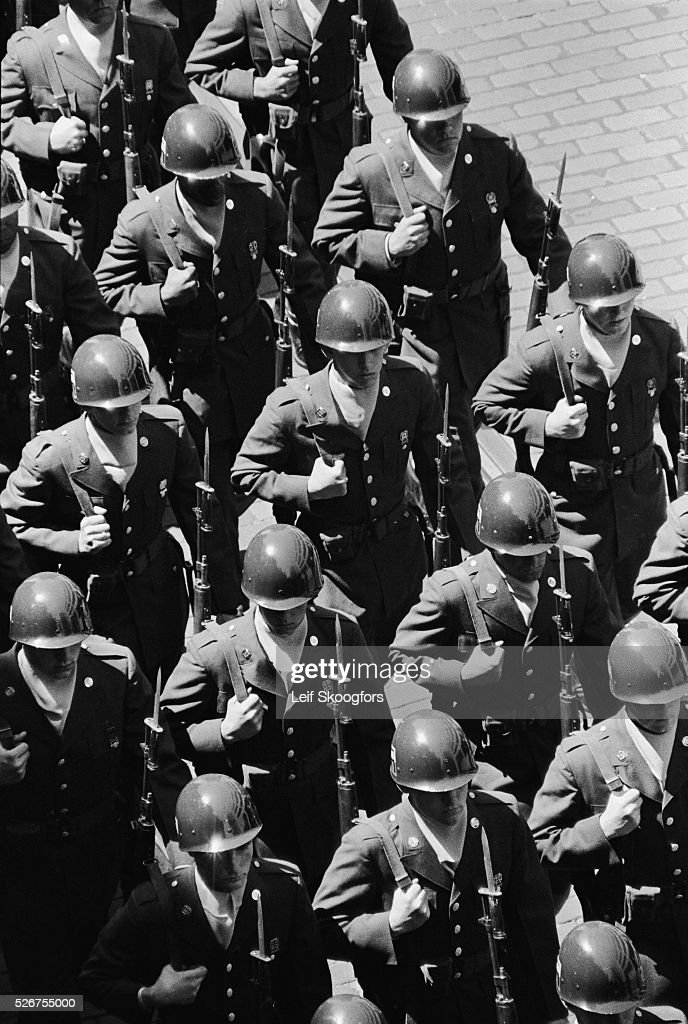 Basic training Army soldiers from Fort Dix in New Jersey participate in the American Legion parade during the Philadelphia Convention This parade was...