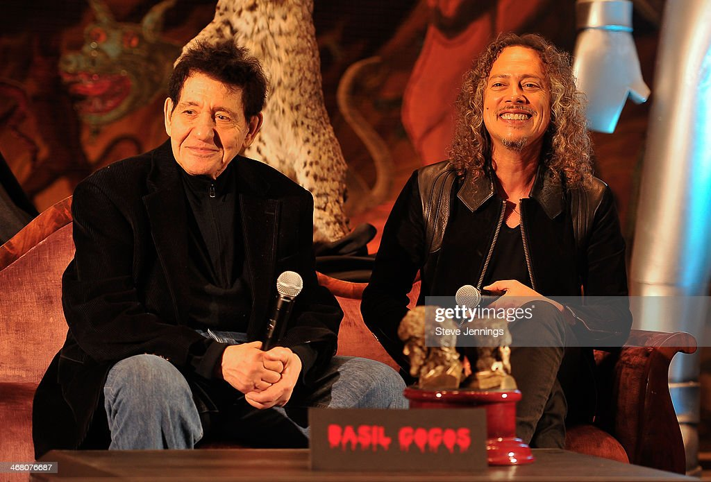 Basil Gogos and <a gi-track='captionPersonalityLinkClicked' href=/galleries/search?phrase=Kirk+Hammett&family=editorial&specificpeople=204665 ng-click='$event.stopPropagation()'>Kirk Hammett</a> (L-R) speak on the panel 'The Man Behind The Screams' at Kirk Von Hammett's Fear FestEvil at Grand Regency Ballroom on February 8, 2014 in San Francisco, California.