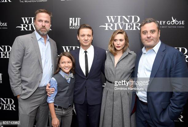 Basil Iwanyk Teo Briones Jeremy Renner Elizabeth Olsen and director Matthew George attend the Screening Of 'Wind River' at The Museum of Modern Art...