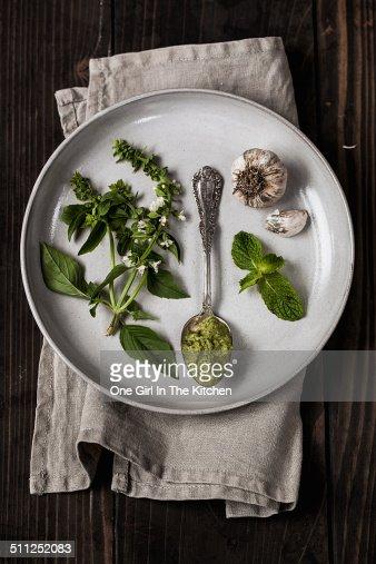 Basil, pesto, and garlic