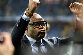 Basile Boli of Marseille celebrates after the semifinal French Cup between Sochaux and Olympique de Marseille at Stade Auguste Bonal on April 20 2016...