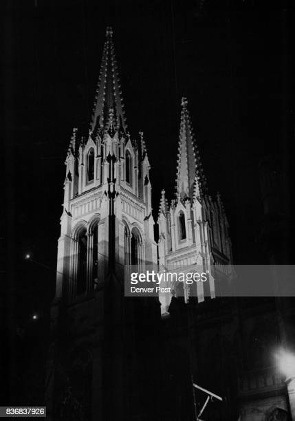 Basilica Immaculate Conception Cathedral Cathedral Spires Illuminated Spotlights illuminate the twin Gothic towers atop the Roman Catholic Cathedral...