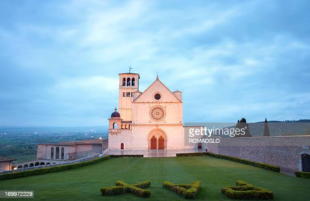 Basilica of San Francesco d'Assisi by night, Umbria Italy