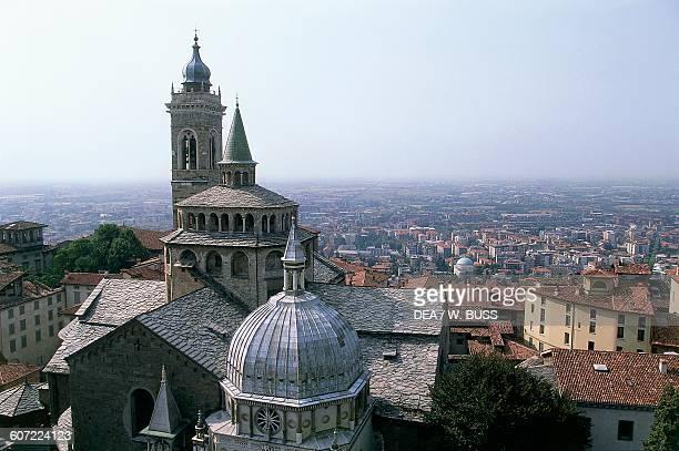 Basilica of Santa Maria Maggiore and Colleoni Chapel seen from above Citta Alta Bergamo Lombardy Italy 14th16th century