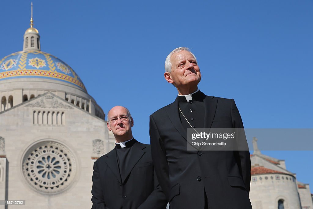 Basilica of the National Shrine of the Immaculate Conception Rector Msgr. Walter Rossi (L) and Washington Archbishop Cardinal Donald Wuerl hold a news conference where Pope Francis will celebrate Mass for 25,000 people on the east portico of the basilica at the university September 17, 2015 in Washington, DC. Francis will begin his visit in the United States with a three-day stop in Washington during which time he will visit Congress, the White House and celebrate the Mass at the basilica.
