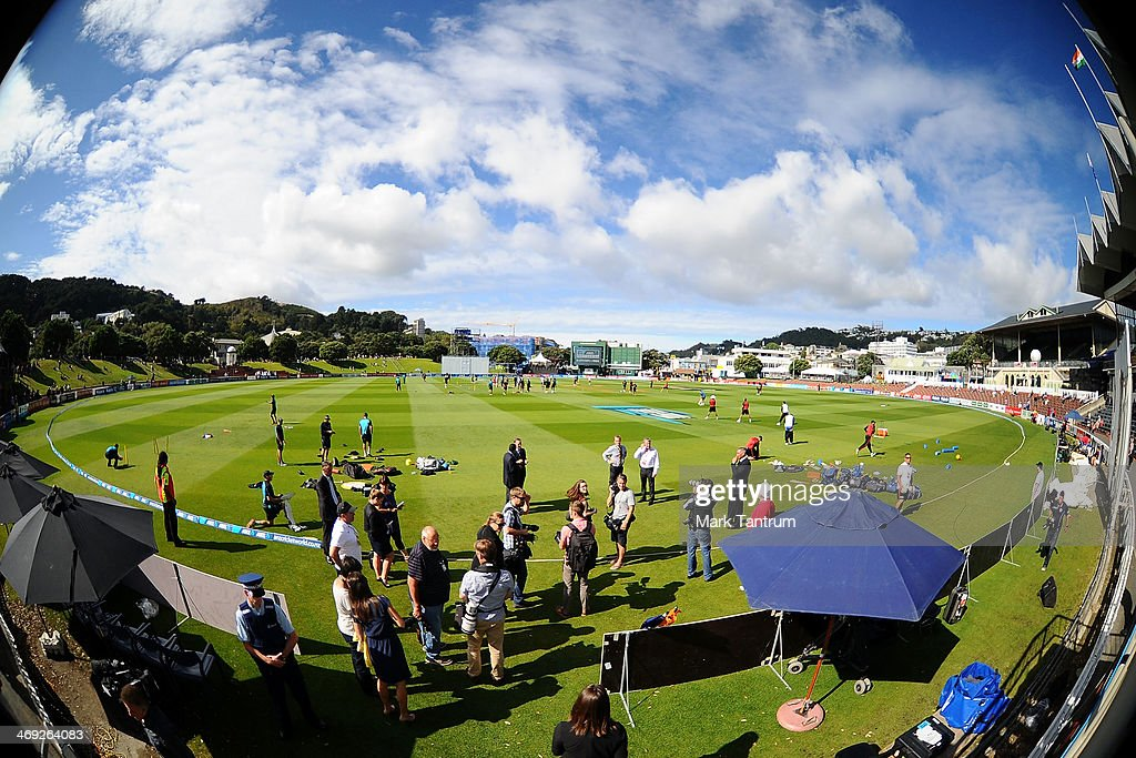 Basin Reserve is shown prior to start of the test match on February 14, 2014 in Wellington, New Zealand.