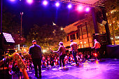 Basist Mike Retondo frontman Tom Higgenson guitarist Tim Lopez and guitarist Dave Tirio perform onstage at Citi Presents Plain White T's at the...