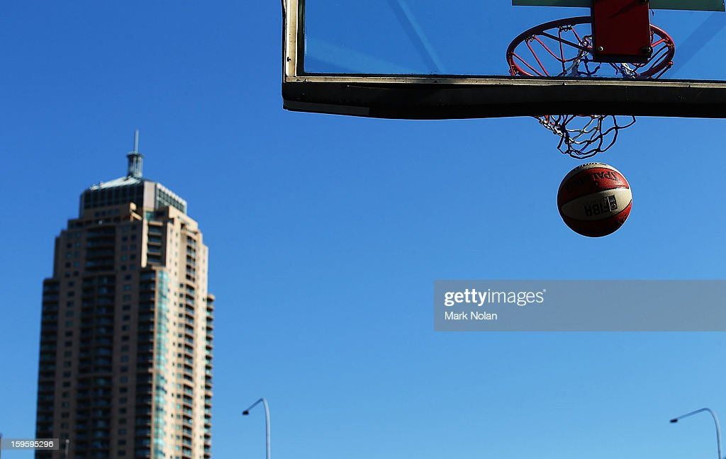 A basket ball drops through the net in the Womens Basketball 3x3 match between Great Britain and Australia Gold during day two of the 2013 Australian Youth Olympic Festival at Darling Harbour on January 17, 2013 in Sydney, Australia.