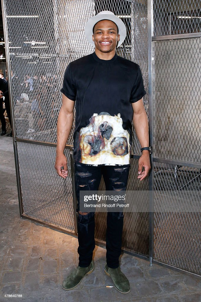 Basket Ball Player, <a gi-track='captionPersonalityLinkClicked' href=/galleries/search?phrase=Russell+Westbrook&family=editorial&specificpeople=4044231 ng-click='$event.stopPropagation()'>Russell Westbrook</a> attends the Givenchy Menswear Spring/Summer 2016 show as part of Paris Fashion Week on June 26, 2015 in Paris, France.