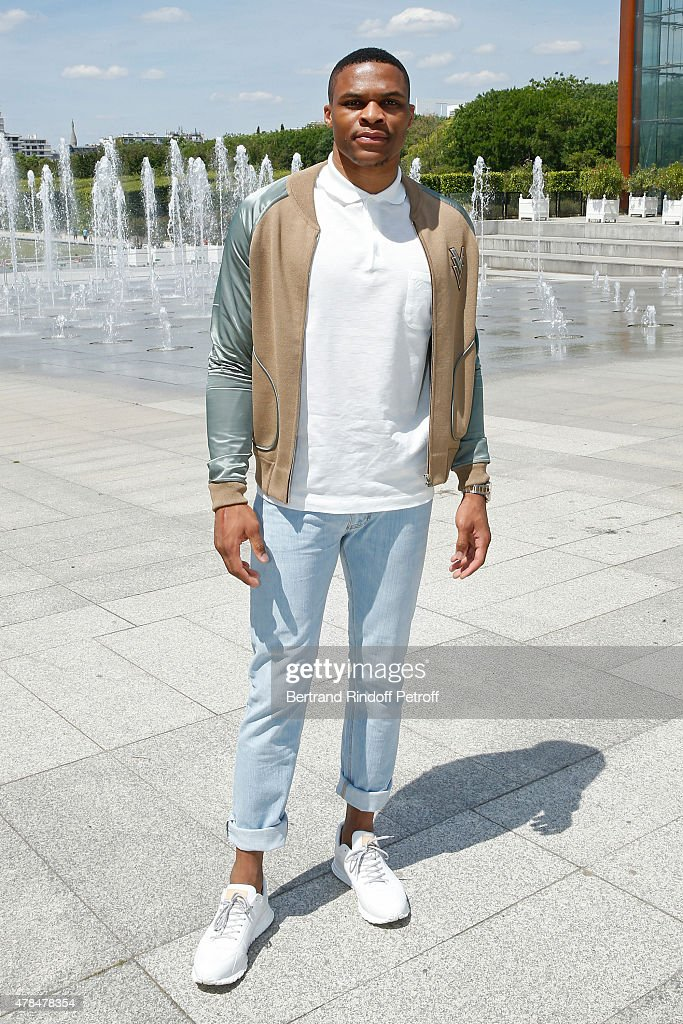 Basket Ball Player, <a gi-track='captionPersonalityLinkClicked' href=/galleries/search?phrase=Russell+Westbrook&family=editorial&specificpeople=4044231 ng-click='$event.stopPropagation()'>Russell Westbrook</a> attends the Louis Vuitton Menswear Spring/Summer 2016 show as part of Paris Fashion Week on June 25, 2015 in Paris, France.