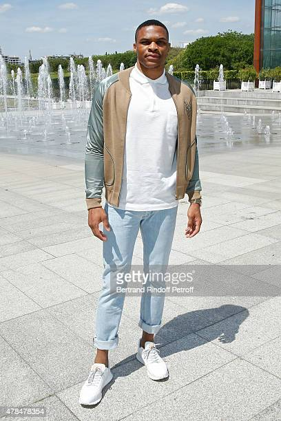 Basket Ball Player Russell Westbrook attends the Louis Vuitton Menswear Spring/Summer 2016 show as part of Paris Fashion Week on June 25 2015 in...