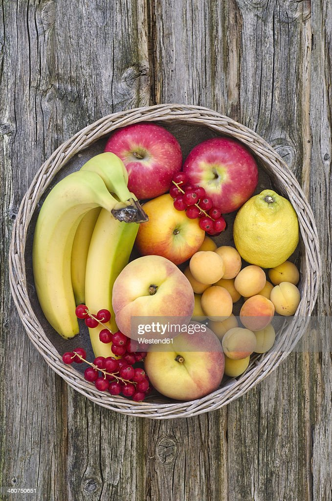 Basket filled with fruits, close up