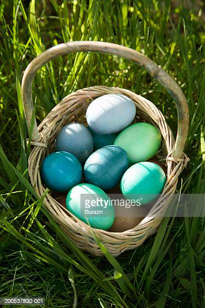 Basket full of Easter eggs in long grass, close-up