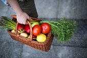 Female hand holding basket full of fresh vegetables and fruits