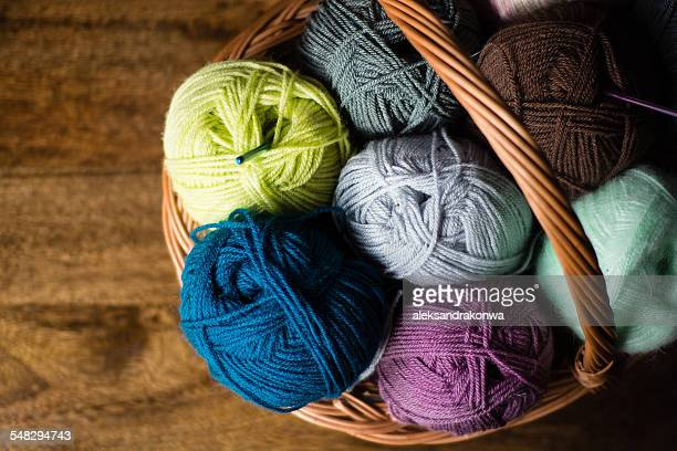 Basket full of multi-colored wool yarn