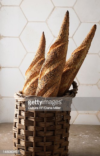 Basket of baguettes : Stock Photo