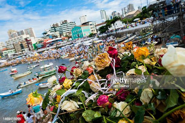 A basket of flowers seen on the beach during the ritual celebration of Yemanjá the goddess of the sea on 2 February 2012 in Salvador Bahia Brazil...