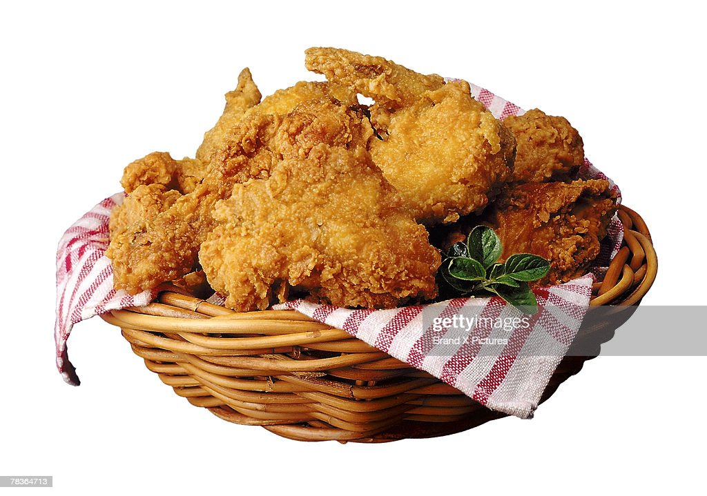 Basket of fried chicken : Stock Photo