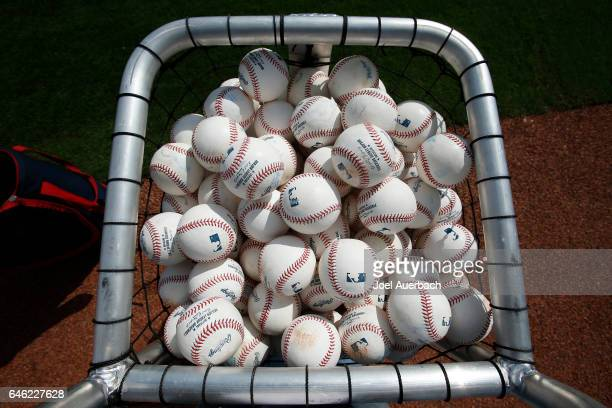 A basket of official Major League baseballs in a basket prior to the spring training game between the Washington Nationals and the Houston Astros at...