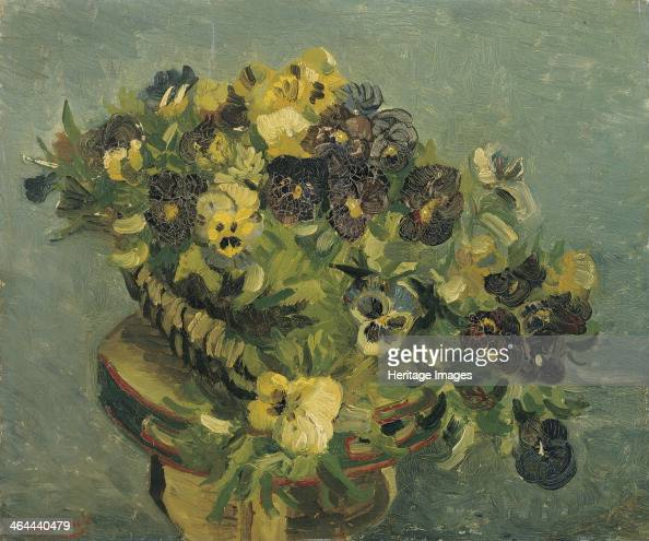 Basket of pansies on a small table 1887 Found in the collection of the Van Gogh Museum Amsterdam