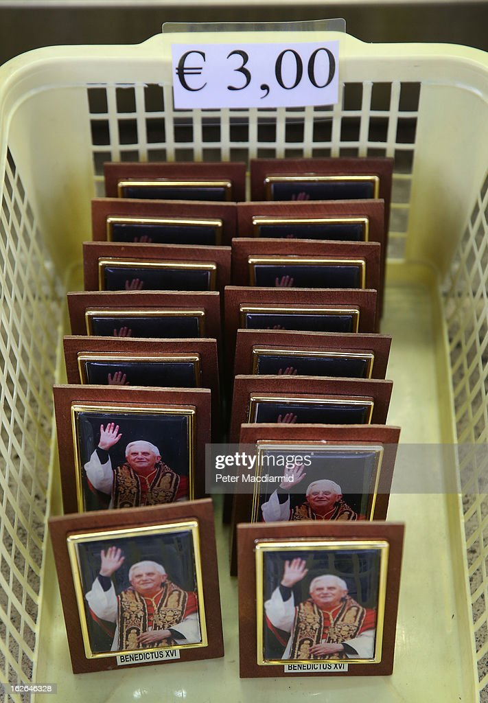 A basket of photographs of Pope Benedict XVI is sold on February 25, 2013 in Rome, Italy. The Pontiff will hold his last weekly public audience on February 27, 2013 before he retires the following day. Pope Benedict XVI has been the leader of the Catholic Church for eight years and is the first Pope to retire since 1415. He cites ailing health as his reason for retirement and will spend the rest of his life in solitude away from public engagements
