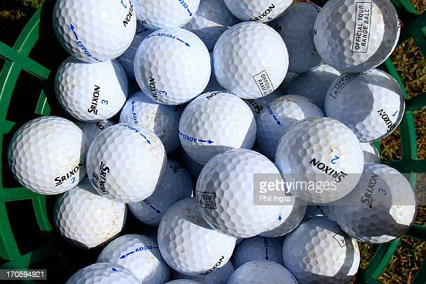 A basket of range balls during the second round of the Speedy Services Wales Senior Open played at Royal Porthcawl Golf Club on June 15 2013 in...