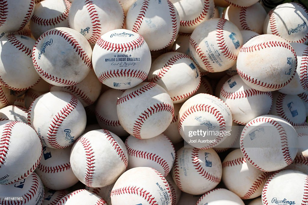 A basket of Rawlings official Major League baseballs sits on one of the practice fields prior to the spring training game between the St Louis...